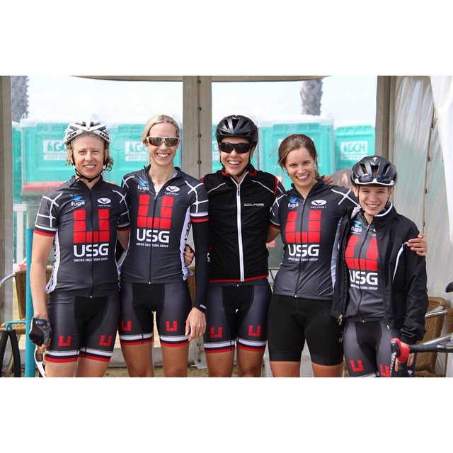 Stacey Riedel (left) with her team mates post race. photo credit: USG Racing Team