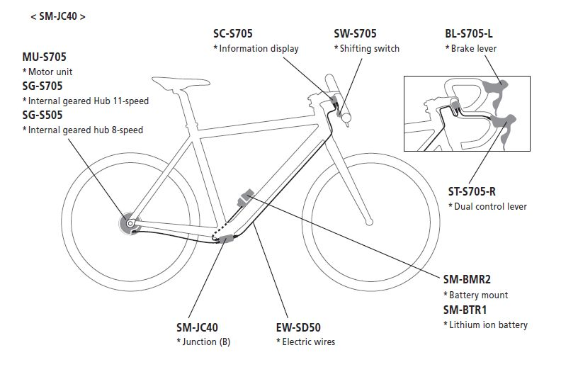 shimano alfine di2 upgrade kit external cable routing rh starbike com Shimano Di2 Wiring-Diagram Shimano Di2 Wiring-Diagram 9150
