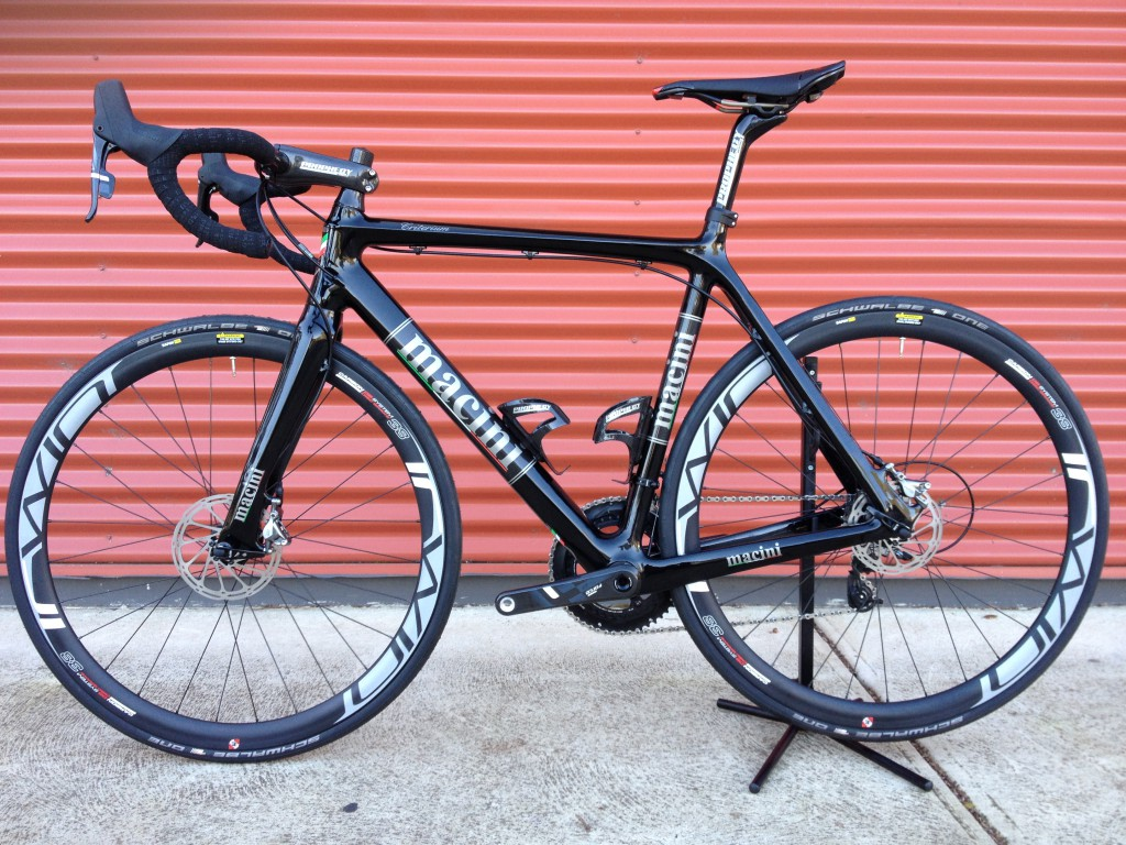 An early prototype of a new disk road bike. Brad is currently working on improving the cable routing for better performance and aesthetics