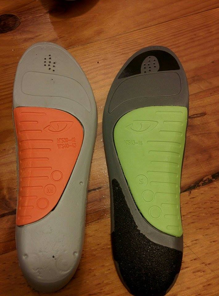The reverse side of the two footbeds, The X-Static footbed  (right) has black inserts, which prevent the footbeds from slipping and increases the stiffness of the footbeds.